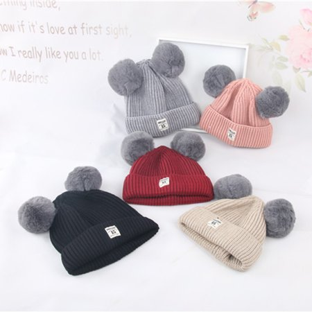296854ca250 Fashion Winter Warm Cap Cute Fur Ball Ears Baby Boys Girls Knitted Beanie  Hat - Walmart.com