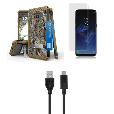 Samsung Galaxy S8+ Plus (2017) - Accessory Bundle with Tri-Shield [Military-Grade] Rugged Kickstand Case - [Real Tree Camo], Tempered Glass Screen Protector, Type-C USB Cable, Atom LED](Atom Real Steel)