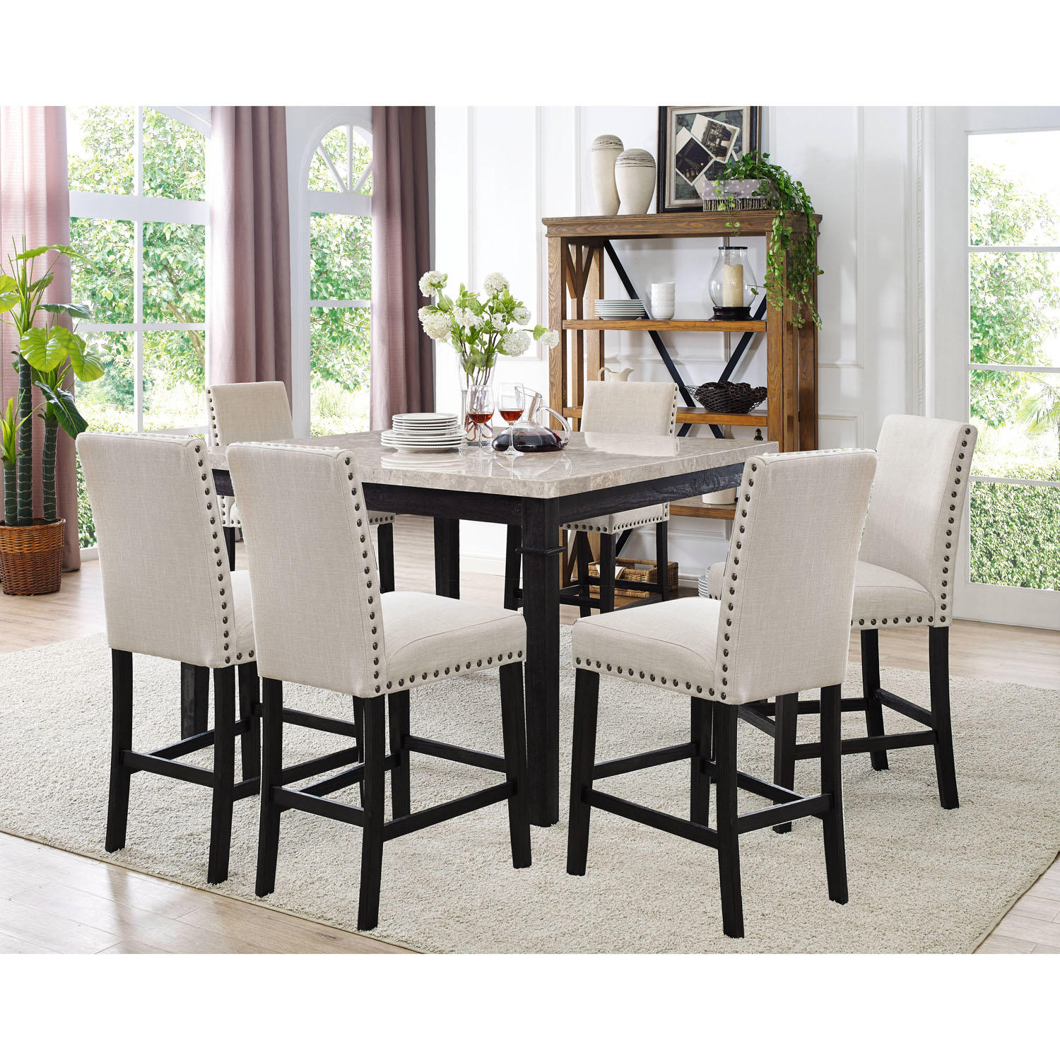 Cambridge Azul 7-Piece Dining Set with Fabric Chairs