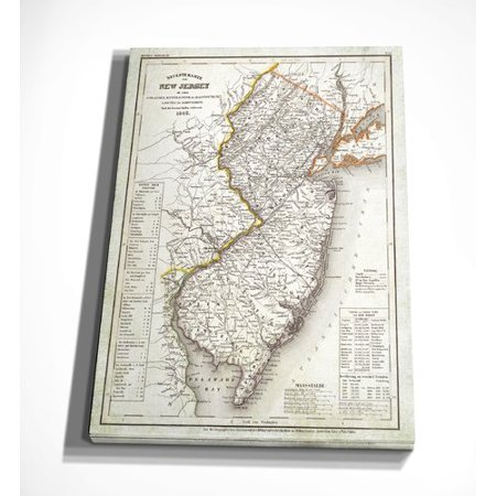 Wexford Home 'Vintage Map New Jersey I' Graphic Art Print on Wrapped Canvas