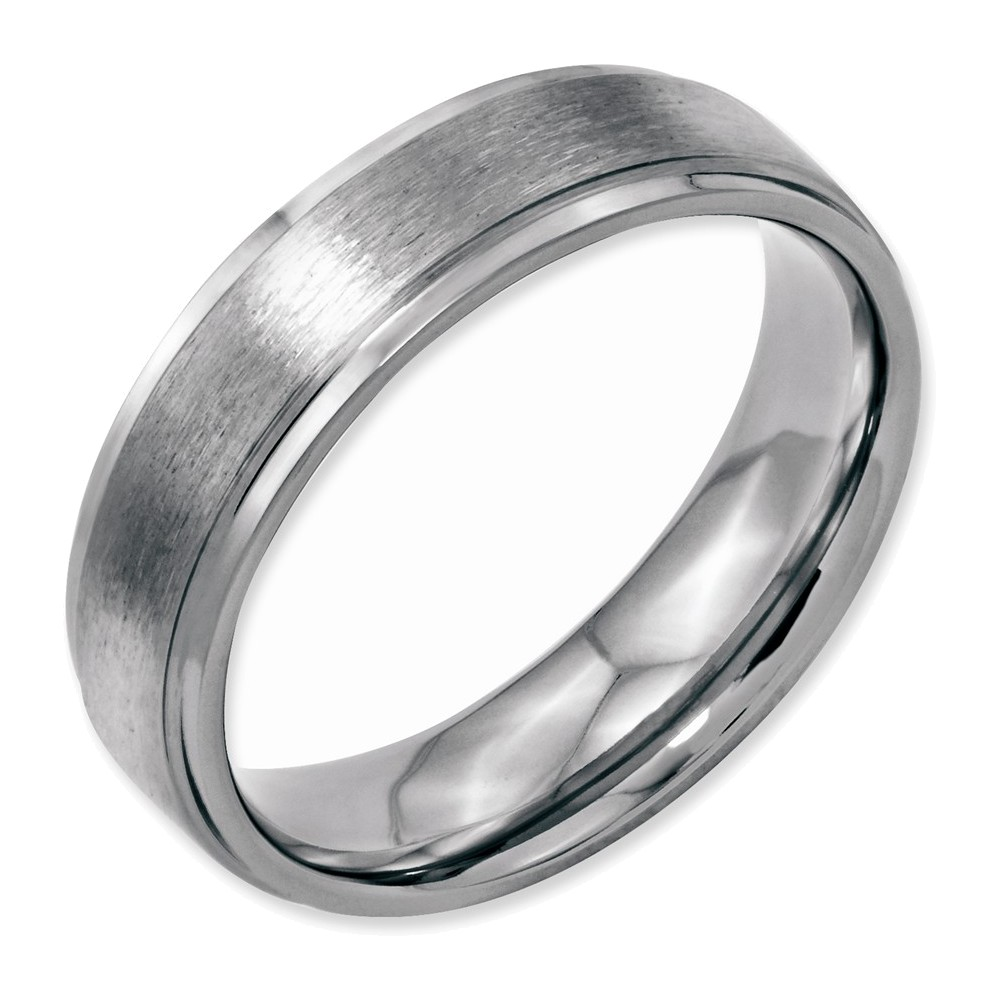 Stainless Steel Grooved Edge 6mm Brushed and Polished Band Size 12