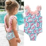 Toddler Kid Baby Girls Backless Watermelon Bikini Swimwear Swimsuit Bathing Suit