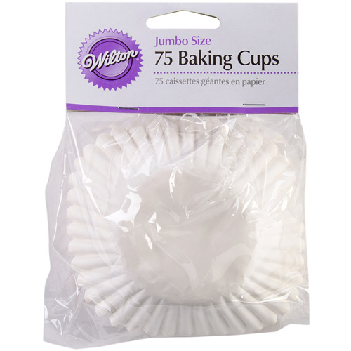 Wilton Jumbo Baking Cup Liner, White 75 ct. 415-427