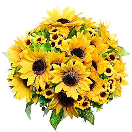 Coolmade 2pcs Artificial Fake Sunflowers Bouquet in Yellow Flower Arrangement for Home Kitchen Floor Garden Wedding (Small Flower Bouquet)