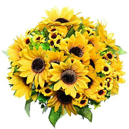 Coolmade 2pcs Artificial Fake Sunflowers Bouquet in Yellow Flower Arrangement for Home Kitchen Floor Garden Wedding - Everyday Flower Arrangements