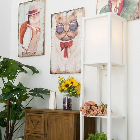 - Stand Floor Lamp w/ Storage Shelf & Fabric Shade, 9.50W LED Bulb White