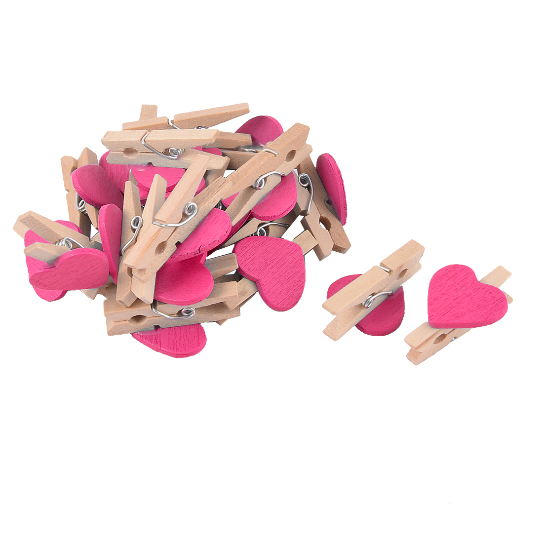 Unique BargainsParty Wedding Decoration Card Photo Mini Wooden Clip Pegs Fuchsia 20pcs