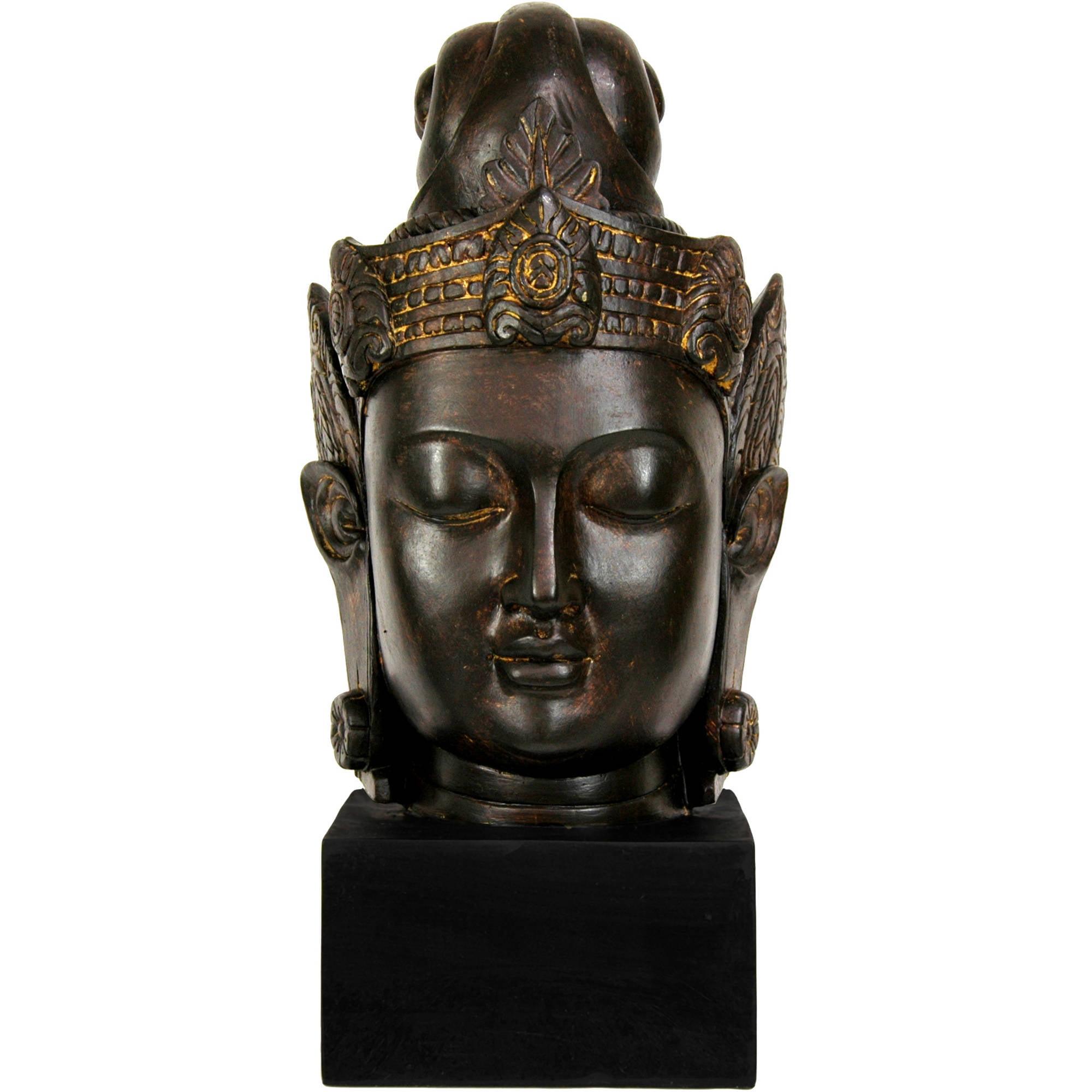 "16"" Cambodian Buddha Head Statue"