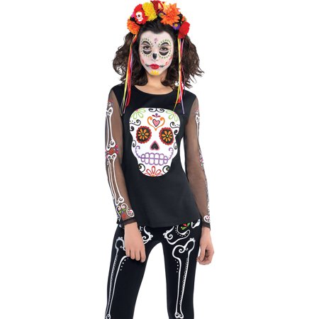 Day of the Dead Long-Sleeve Shirt for Adults, Size 2X, Features a Sugar (Day Of The Dead Long Sleeve T Shirts)