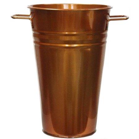 6.5 in. dia. x 9.5 in. Enameled Galvanized Vase, Glazed