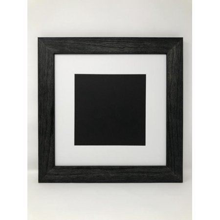 16x16 Square 175 Rustic Black Solid Wood Picture Frame With White
