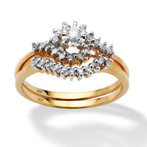 1/4 TCW Round Diamond 10k Yellow Gold Bridal Engagement Wedding Cluster Ring Set - Size 10