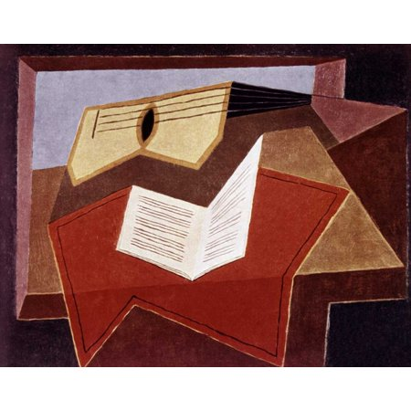 22 Inch Grid - Guitar With Sheet of Music Stretched Canvas - Juan Gris (22 x 28)