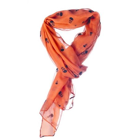 Ganz Halloween Skull Scarf  Large Black and Orange Neck Scarf (Painted Scary Faces Halloween)
