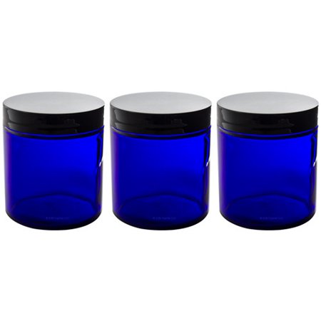 Cobalt Blue Glass Straight Sided Jar - 4 oz / 120 ml (3 pack) + Spatulas and Labels