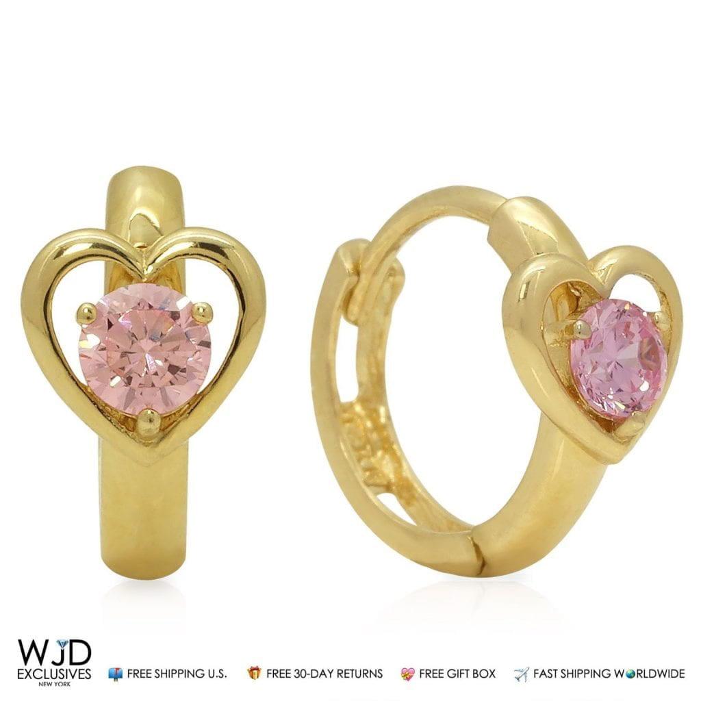 14K Yellow Gold Heart Shape Pink Tourmaline Huggie Hoop Earrings