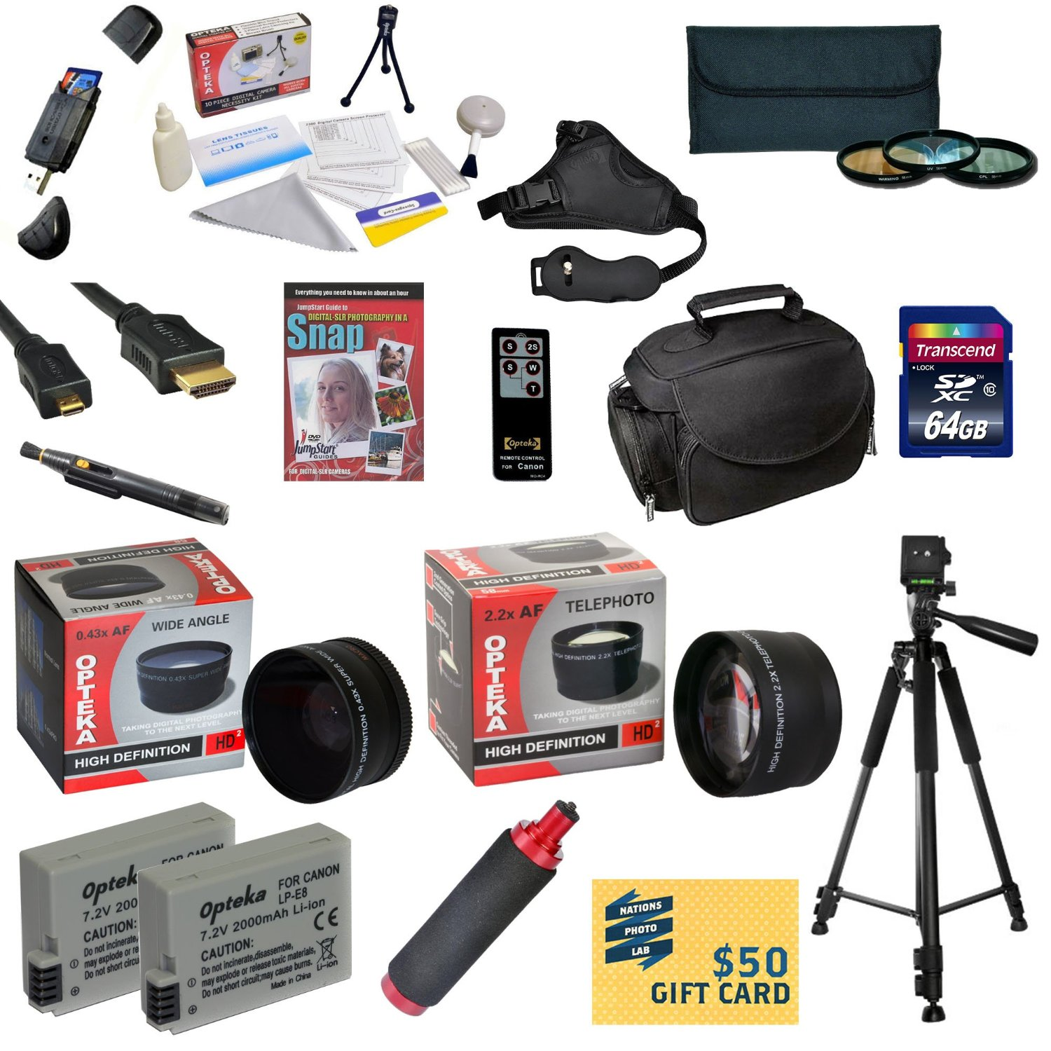 Ultimate Kit for Canon Rebel T2i T3i T4i T5i DSLR Camera Includes 64GB SDXC Card + 2 Batteries + Charger + 0.43x + 2.2x Lens + 3 Piece Filters + Gadget Bag +Tripod + DSLR DVD + $50 Gift Card + More