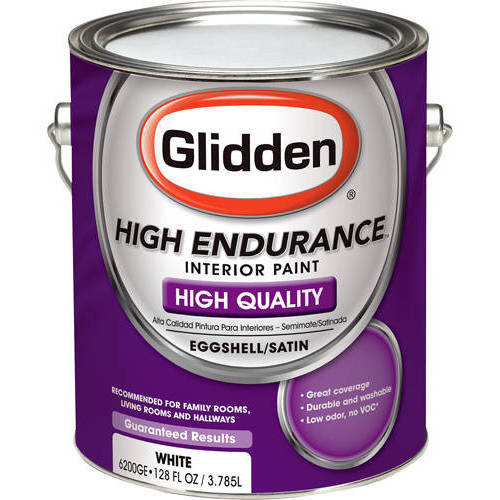 Glidden High Endurance Interior Eggshell/Satin Paint, White, 1 QT