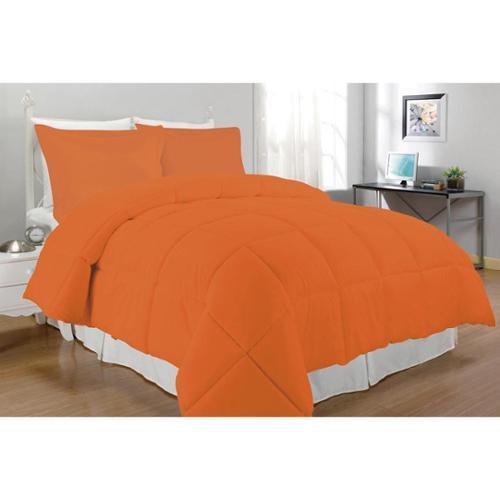 Microfiber Down Alternative 3-piece Comforter Set Twin Orange