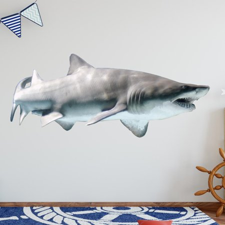 VWAQ Realistic Shark Wall Decal Sand Shark Sticker Marine Life Mural VWAQ-PAS8 (16