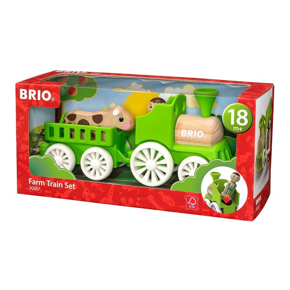BRIO 4 Piece Farm Train Set for Toddler with Conductor and Cow by Brio