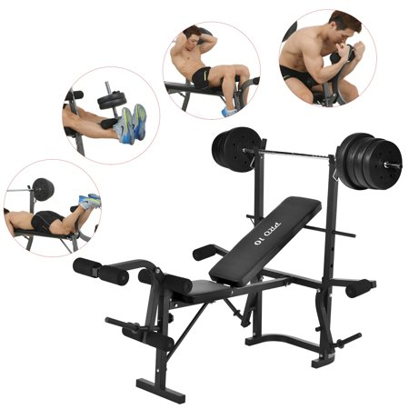Murtisol Health Fitness Indoor Adjule Olympic Weight Bench Set Lifting Press Exercise Equipment Workout Machine