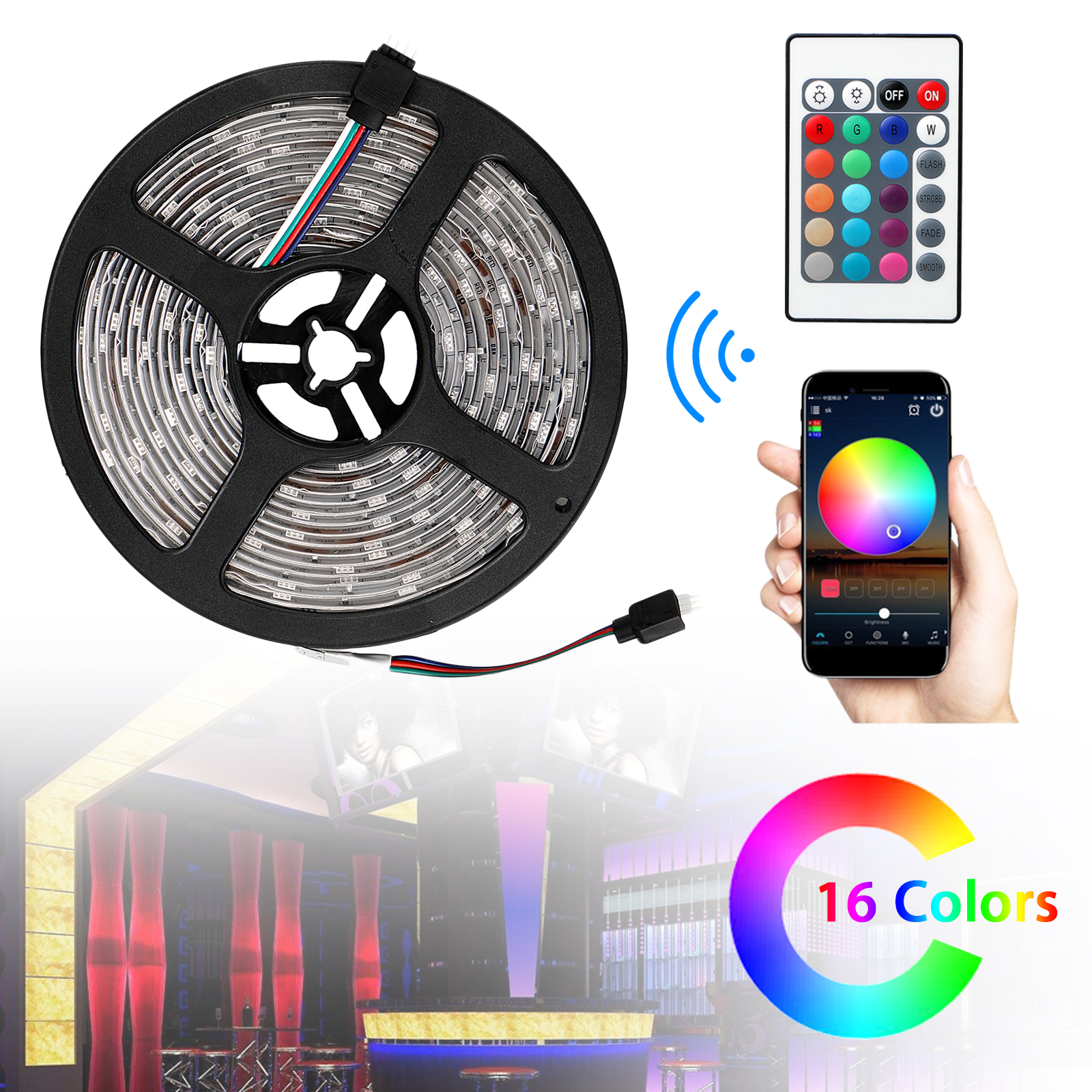 EEEKit Wifi Wireless Smart Phone Controlled Led Strip Light Kit Waterproof SMD 5050 16.4Ft(5M) 150leds RGB Tape Timer Work with Android IOS Google Home