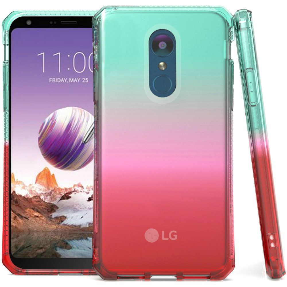 Bemz Shockproof TPU Slim Fit Protective Phone Cover Case and Atom Cloth for LG Stylo 4+ Plus/LG Stylo 4 (2018) - Teal/Pink/Red