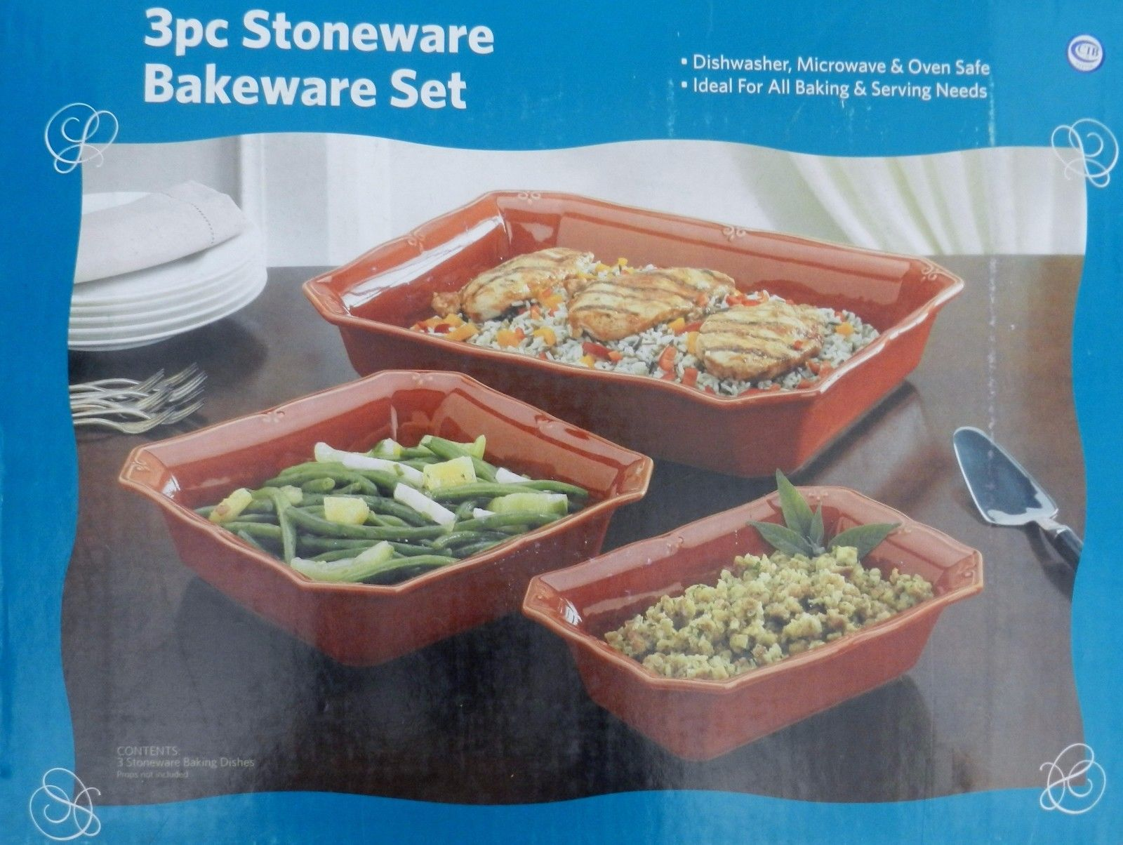 3 Piece Brick Dishwasher And Oven Safe StoNeware Bakeware Set by
