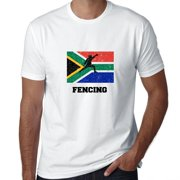 South Africa Olympic - Fencing - Flag - Silhouette Men's T-Shirt