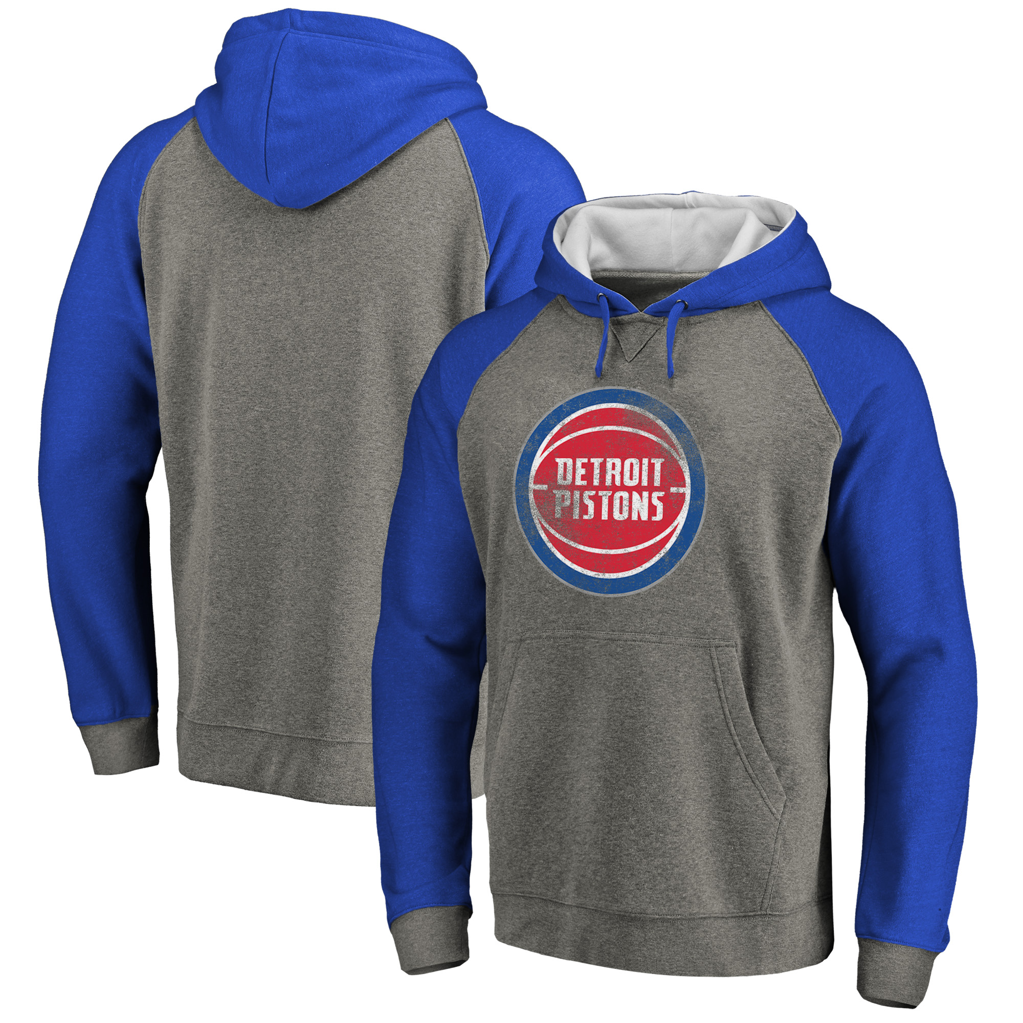 Detroit Pistons Fanatics Branded Distressed Logo Tri-Blend Pullover Hoodie - Ash/Royal