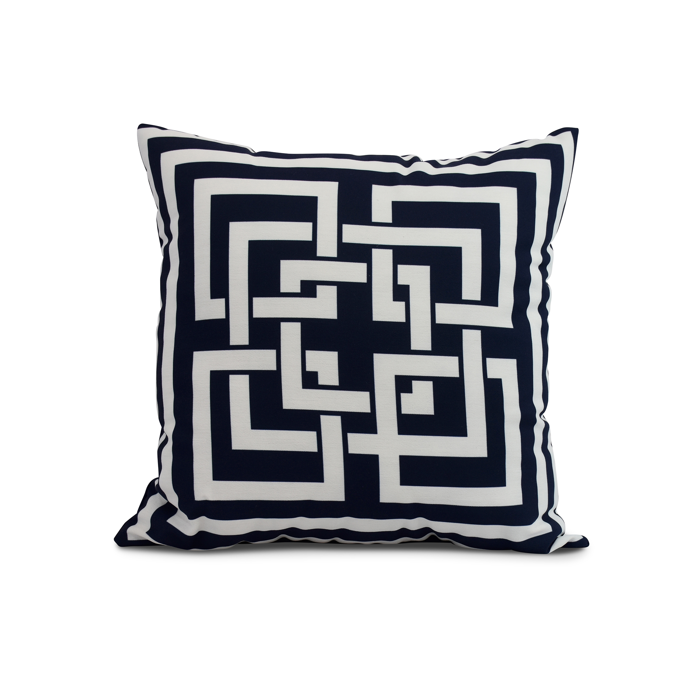 Simply Daisy, 16 x 16inch, Greek New Key, Geometric Print Pillow, Navy