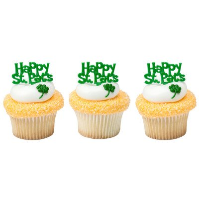 Happy St. Patricks Day Green -24pk Cupcake / Desert / Food Decoration Topper Picks with Favor Stickers & Sparkle Flakes for $<!---->