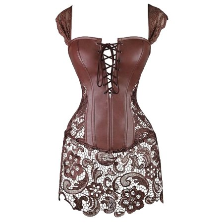 Miss Moly Women Steampunk Faux Leather Bustier Sexy Dress Corset Top Zip Plus Size Brown 2XL