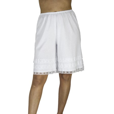 Underworks Pettipants Cotton Knit Culotte Slip Bloomers Split Skirt 4-inch Inseam 2-PACK