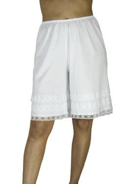 Underworks Pettipants Cotton Knit Culotte Slip Bloomers Split Skirt 4-inch Inseam 2-PACK