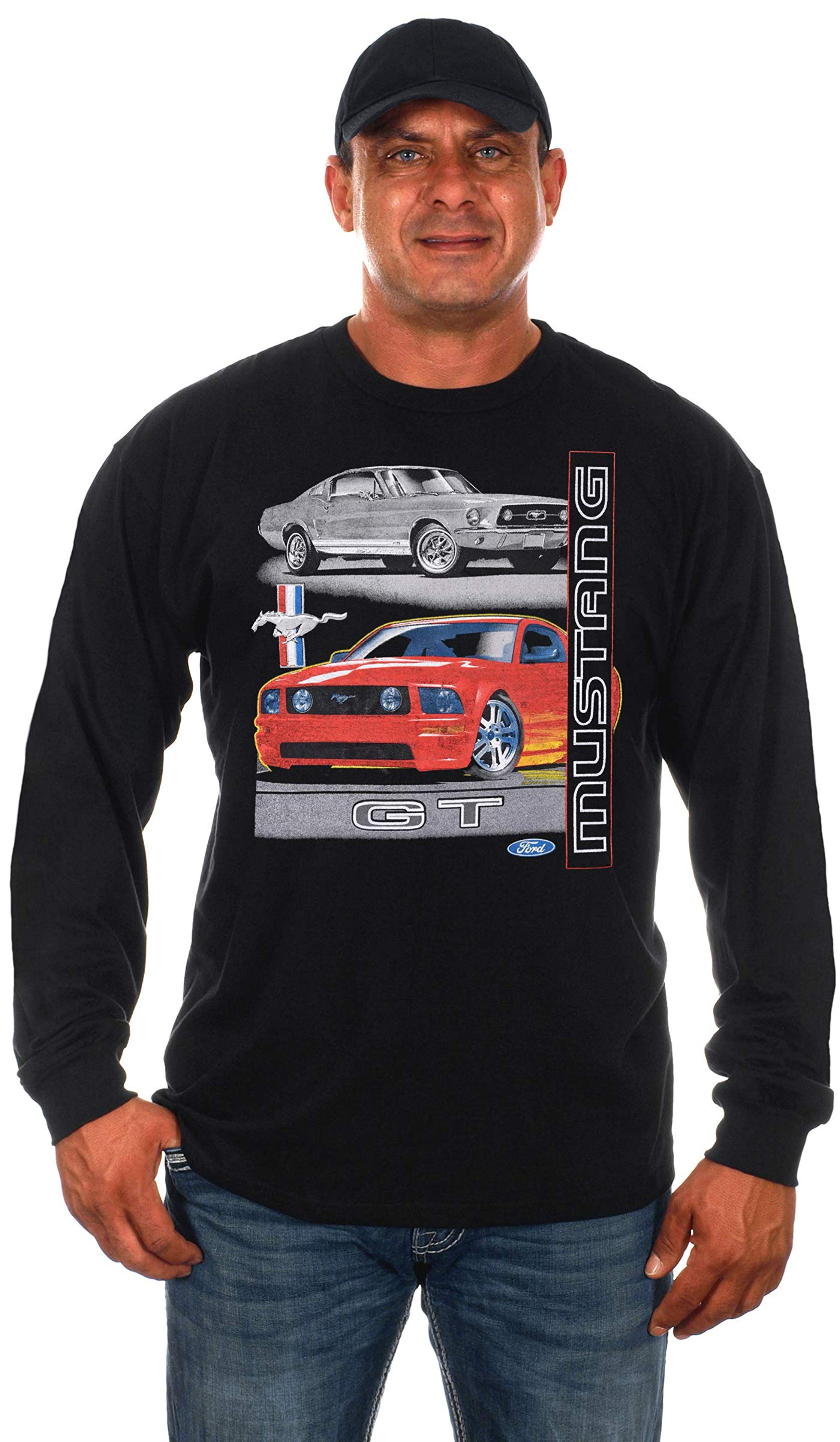 JH DESIGN GROUP Mens Chevy Corvette Black T-Shirt Distressed American Flag
