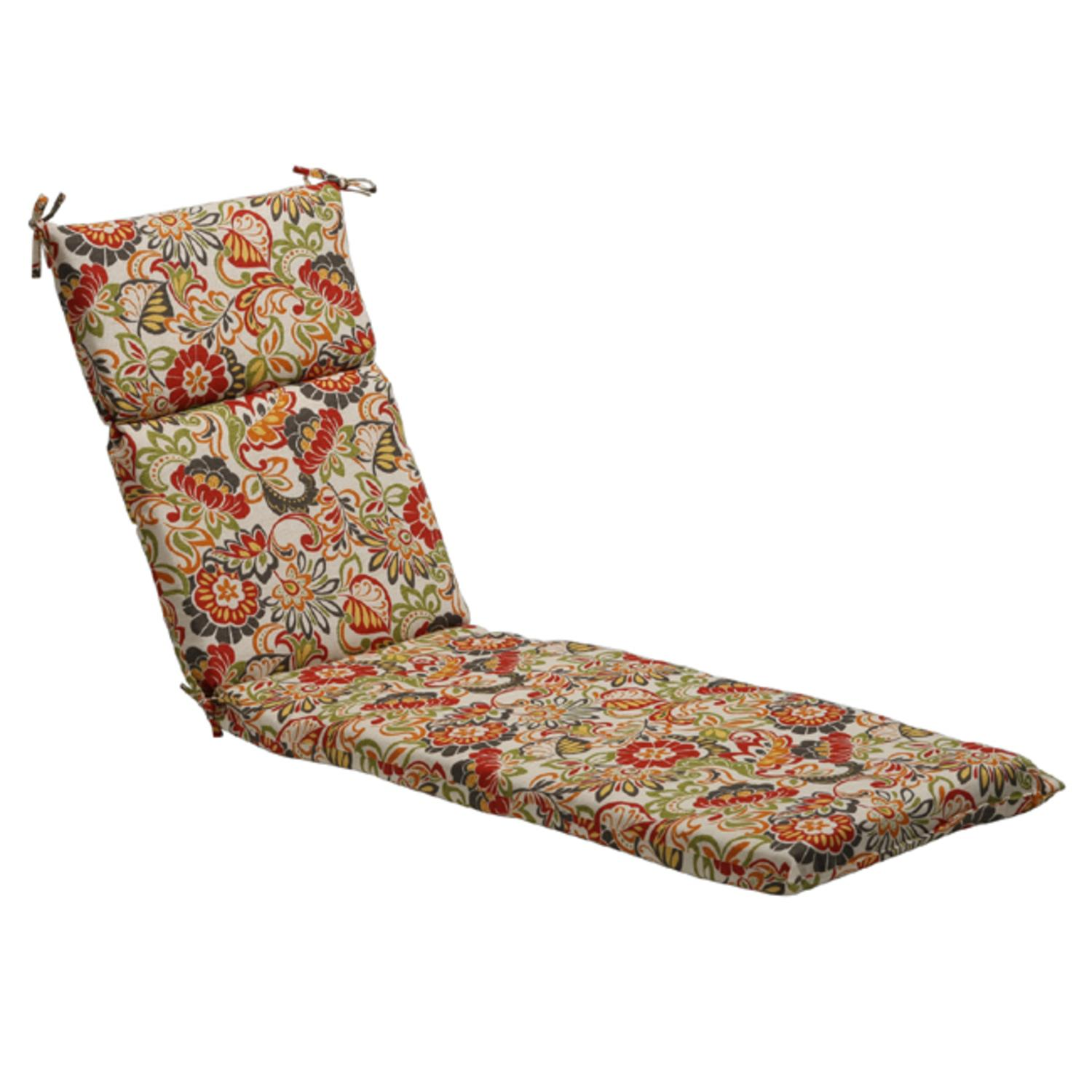 """72.5"""" Eco-Friendly Red Multi-Colored Retro Floral Outdoor Chaise Lounge Cushion"""