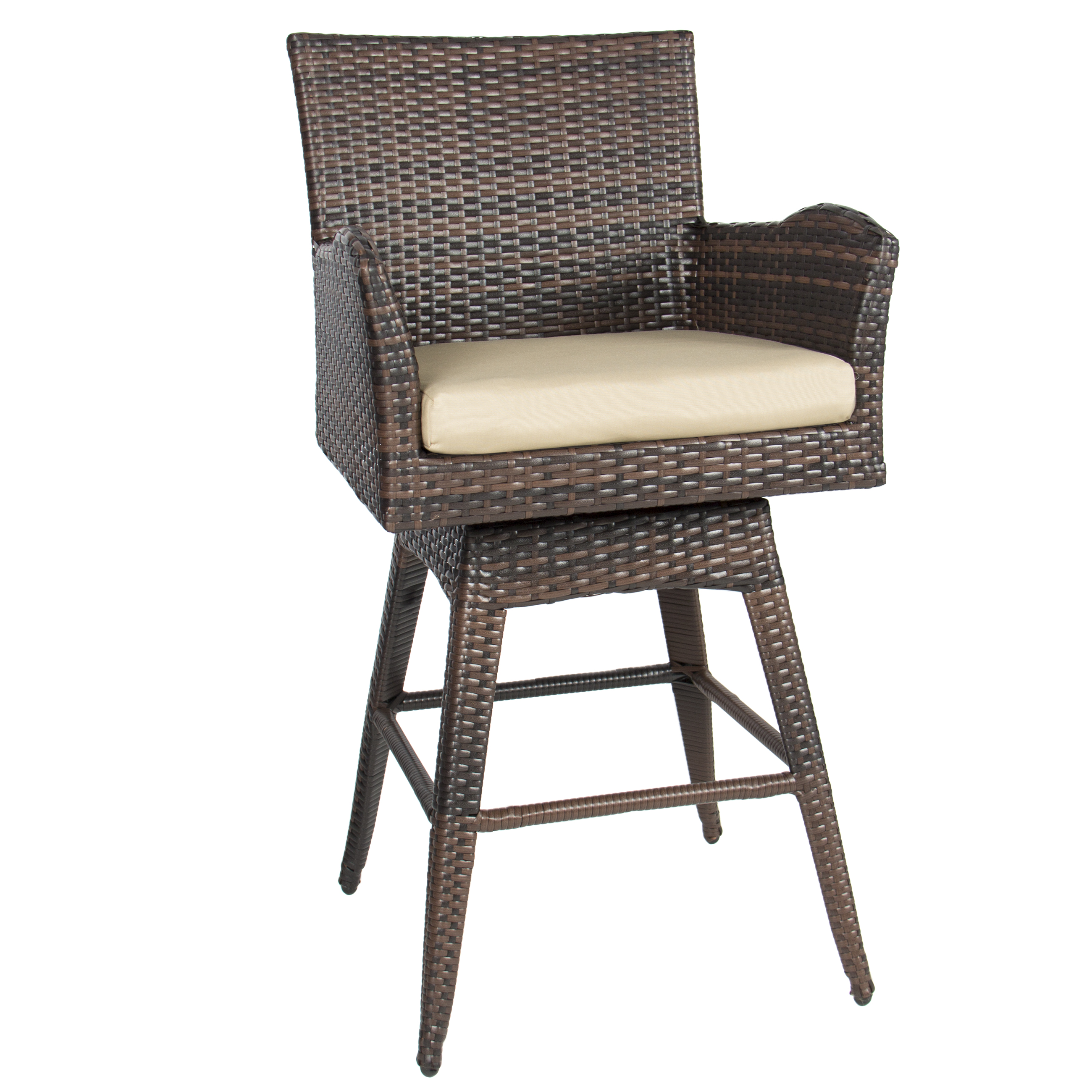 Outdoor Patio Furniture All Weather Brown PE Wicker Swivel Bar Stool w Cushion