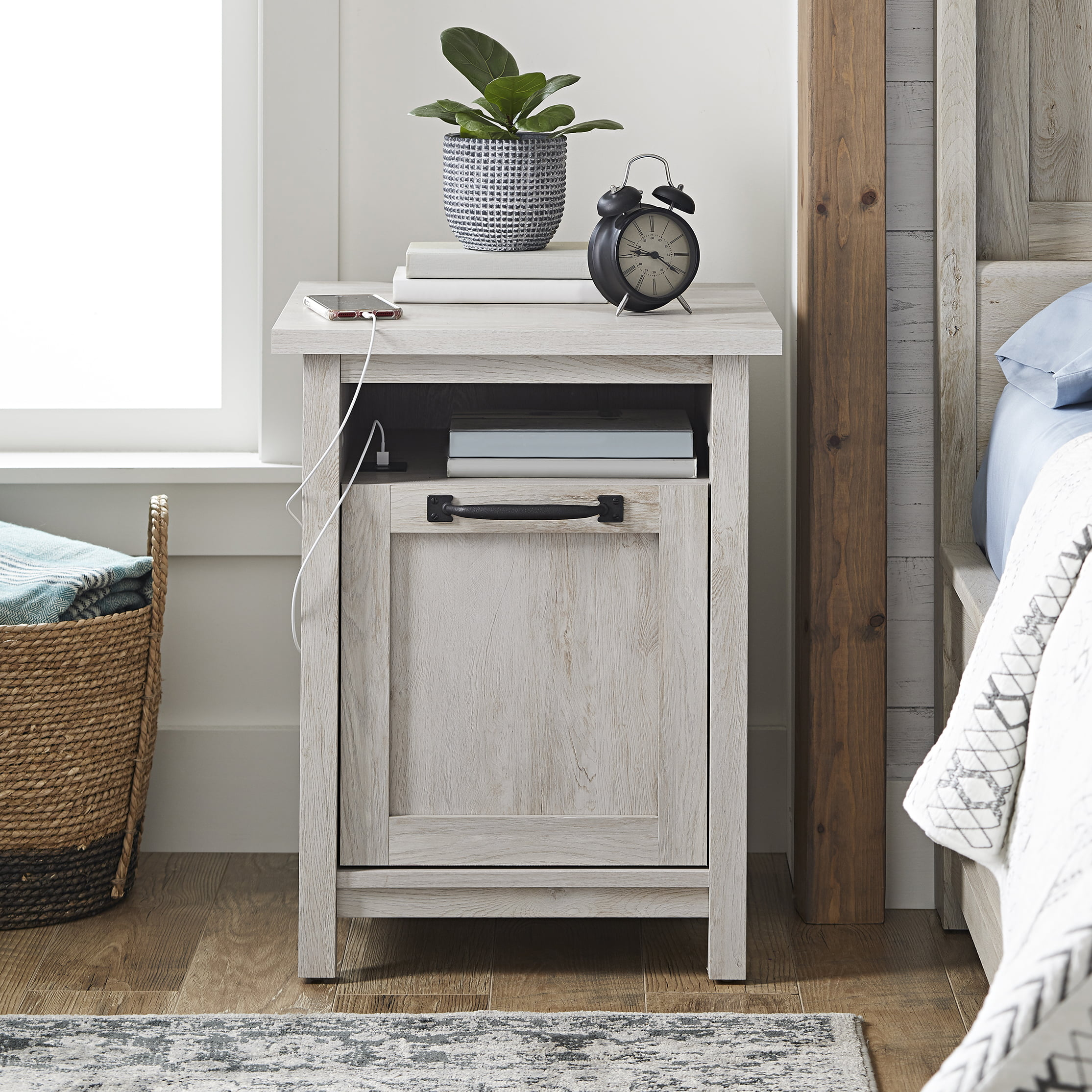 Better Homes Gardens Modern Farmhouse Usb Nightstand Rustic White Walmart Com Walmart Com