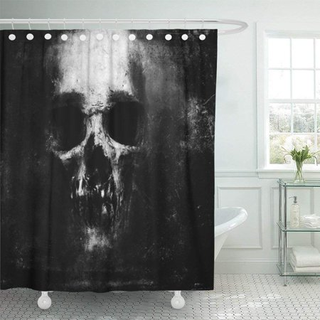 ARTJIA White Death Scary Grunge Skull Black Design with Halloween Dark Skeleton Evil Retro Face Gothic Shower Curtain 60x72 - Halloween Faces Black And White