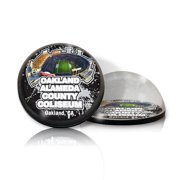 Paragon Innovations OaklandAlamedaFBMAGSTA Crystal magnet with Oakland Alameda Coliseum image  giving a magnifying effect.-NFL
