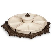 The GG Collection Ceramic Lazy Susan Crudite and Metal Base