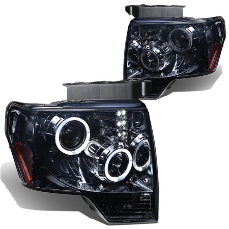 For 2009 to 2014 Ford F-150 Dual Angel Eyes Halo Projector Headlight Smoked Housing Amber Corner Headlamp 10 11 12 13 Left+Right