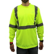 Large / Class 2 Max-dry Moisture Wicking Mesh Long Sleeve Safety T-shirt, Neon Yellow
