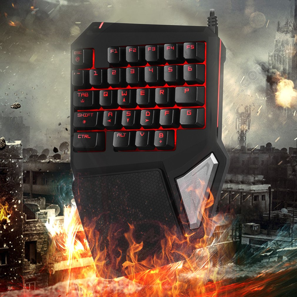 Delux T9 PRO 7 Colors LED Backlight Single Hand Professional Gaming Keyboard