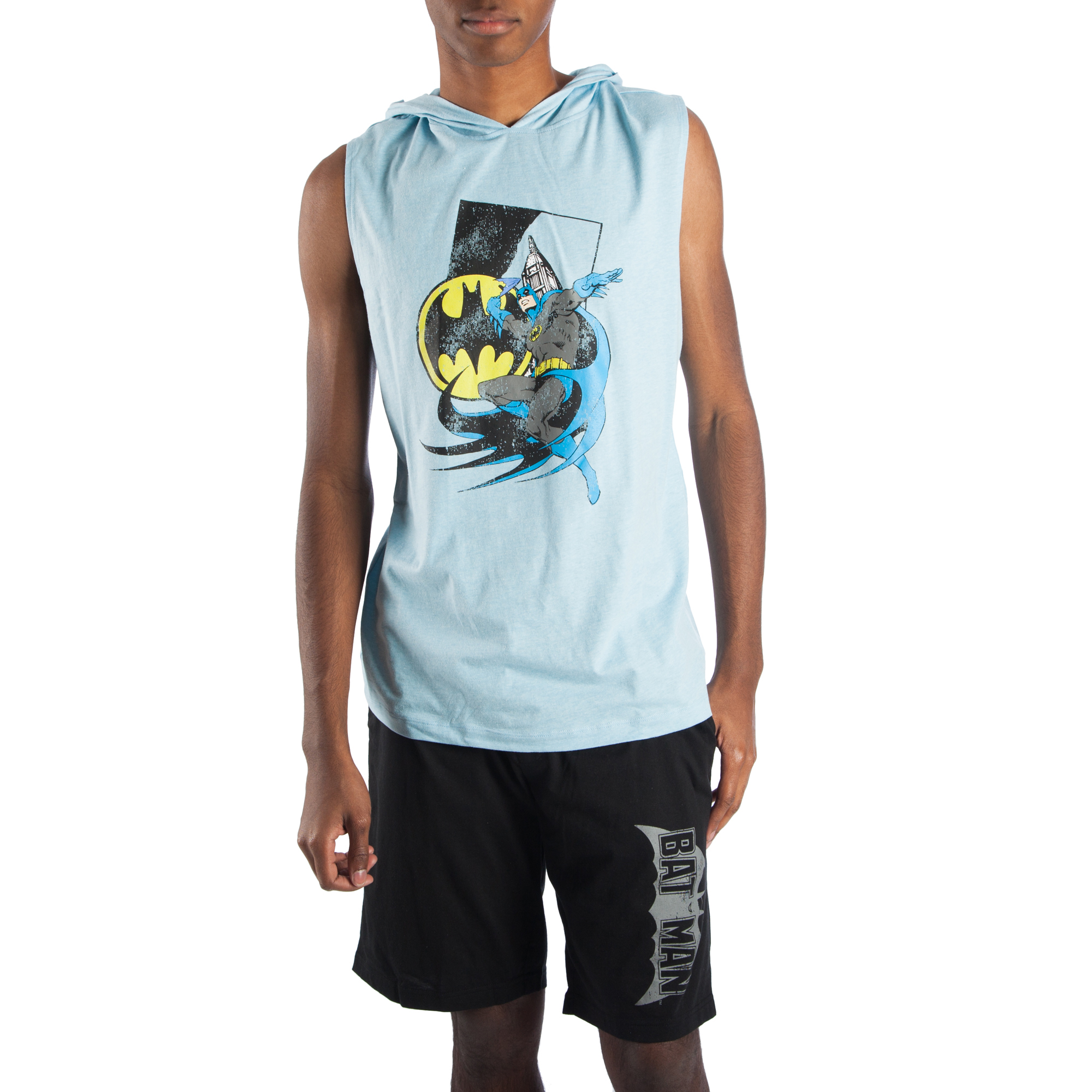 Men's 2 Piece Classic Batman Muscle Tee Hoodie and Sleep Short Pajama Lounge Combo, Size... by Generic