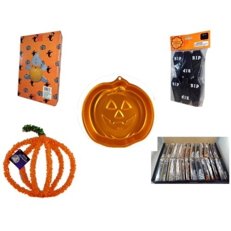 Halloween Fun Gift Bundle [5 Piece] -  Ghost Pumpkin Push In 5 Piece Head Arms Legs - Tombstone Containers Party Favors 6 Count - Wilton Iridescents Jack-O-Lantern Pan -  Pumpkin Plastic on Wire Dec - Halloween Jack In The Box Head
