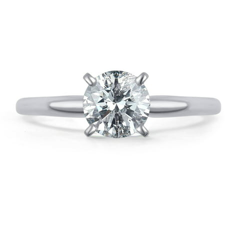 0.5 Carat T.W. Round White Diamond 14kt White Gold Solitaire -