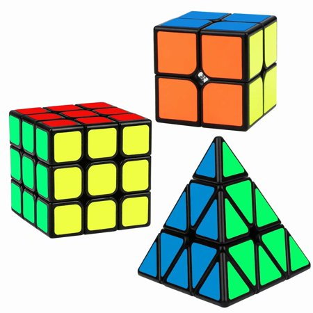 Speed Cube Set, Magic Cube Bundle of 2x2 3x3 Pyramid Smooth Sticker Puzzle Cube Toy for Kids, 3